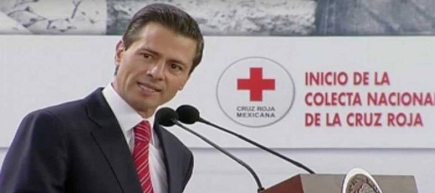 Peña Nieto celebró el convenio que firmaron la Cruz Roja, la Secretaría de Educación Pública y el...