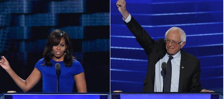Michelle Obama conmueve y Sanders apasiona por la uni�n en torno a Clinton