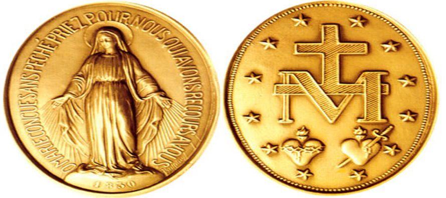Catalina vio emerger la siguiente inscripción en letras de oro: «¡Oh María sin pecado concebida!,...
