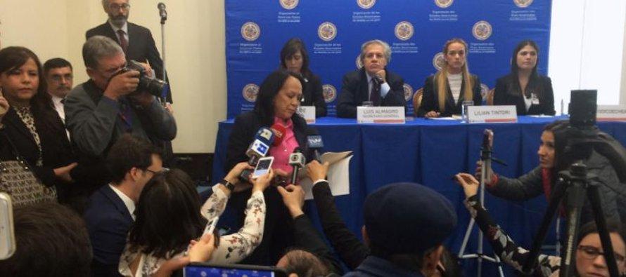 La embajadora alterna venezolana ante la OEA Carmen Velásquez interrumpe una conferencia de prensa...