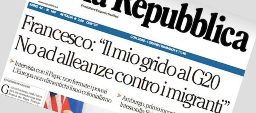 El fundador del diario Repubblica, 15 años más anciano que Francisco, deja la...