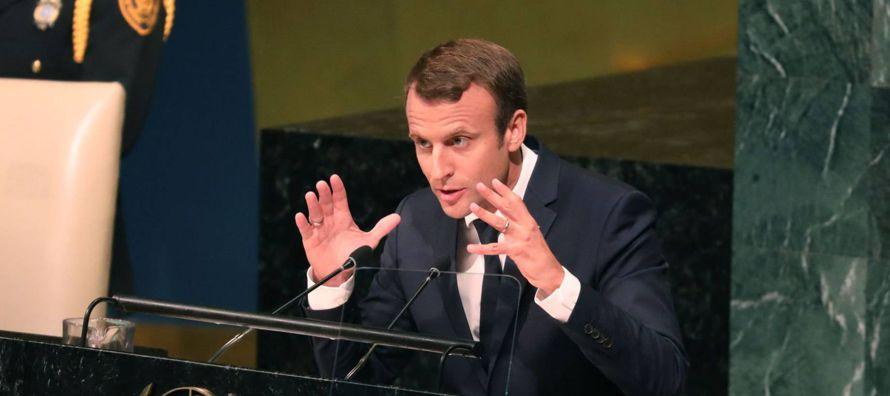 Macron, a diferencia de Trump, sí se presentó en Nueva York con la intención...