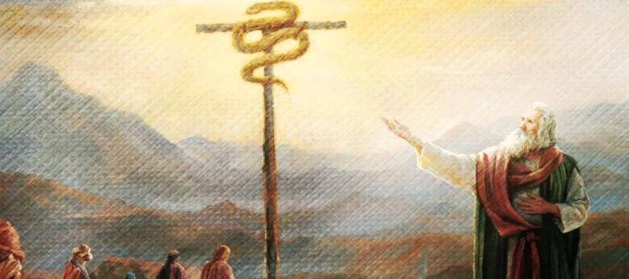 El hecho de que la Serpiente de Bronce del cayado de Moisés es una prefigura de Cristo en la...