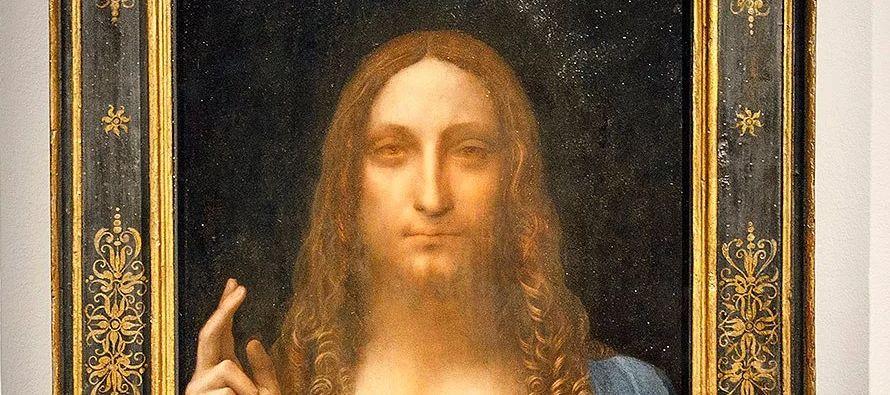 Obra de Leonardo Da Vinci, el cuadro Salvator Mundi' representa a Cristo sosteniendo con la...