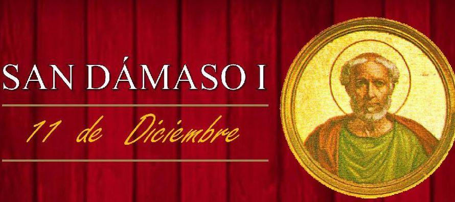 San Dámaso I, papa de origen hispano, que en los difíciles tiempos en que...