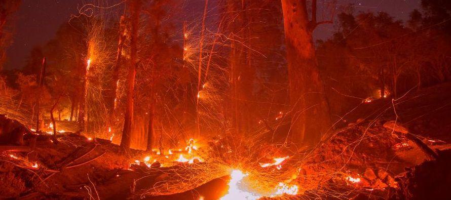 Más de 8,000 bomberos continúan trabajando para sofocar unas llamas que han destruido...