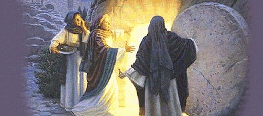 Llega también Simón Pedro siguiéndole, entra en el sepulcro y ve las vendas en...
