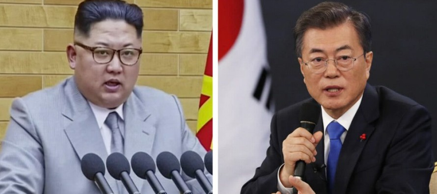 En la declaración, las dos Coreas, técnicamente aún en guerra, se...