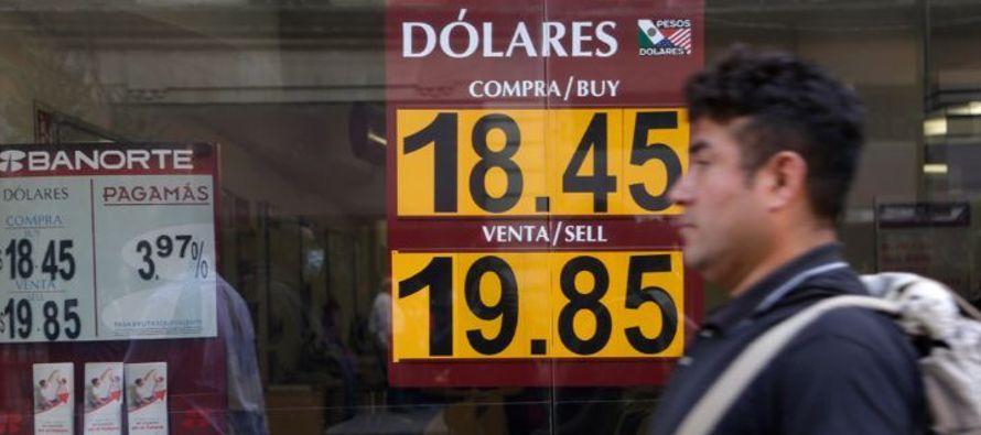 El peso mexicano se depreció este lunes 0,60 % frente al dólar, situándose a...