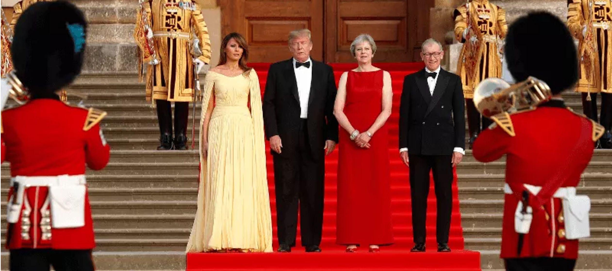 Posteriormente entraron al edificio para asistir a una cena de gala en la que más de un...