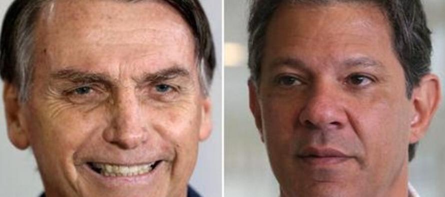 Bolsonaro tiene 57 pct de apoyo para elección Brasil y Haddad, un 43: sondeo